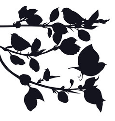 birds in the garden black silhouettes vector image