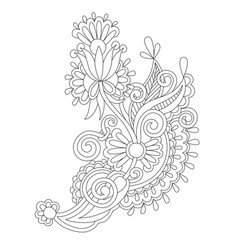 Black line drawing of paisley design flower vector