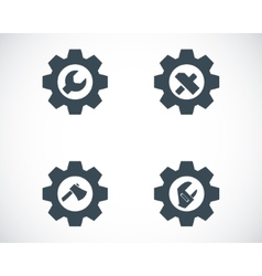 Black tools in gear icons set vector
