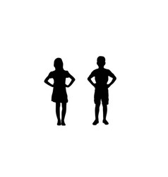 Boy and girl silhouettes vector