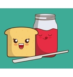 Breakfast design Kawaii bread icon vector