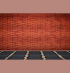 brick wall with ir heating floor vector image