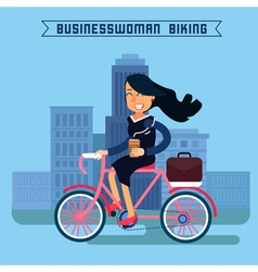 Businesswoman Riding a Bicycle in the City vector image