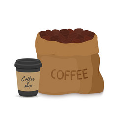 Canvas coffee bag black cup package drink vector