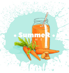 Carrot juice in a jar vector