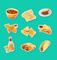 cartoon mexican food stickers set vector image