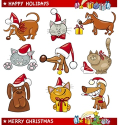 Cartoon Set of Christmas Cats and Dogs vector