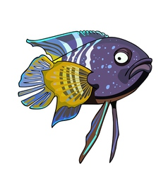 cartoon tropical fish violet yellow vector image
