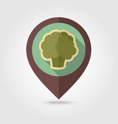 cauliflower flat pin map icon vegetable vector image