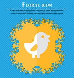 Chicken Bird Floral flat design on a blue abstract vector