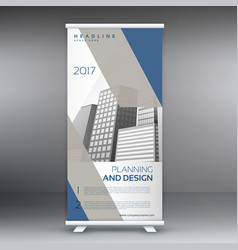Clean modern gray and blue standee roll up banner vector