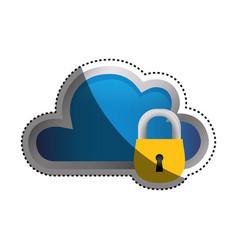 Cloud padlock security vector