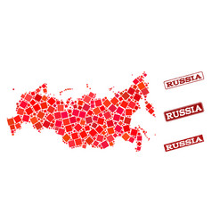 Collage of red mosaic map of russia and grunge vector