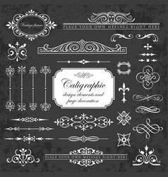 collection calligraphic elements on chalkboard vector image