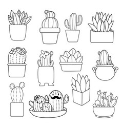 coloring book cactus vector image