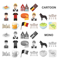 country belgium cartoon icons in set collection vector image