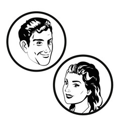 Couple comic pop art image vector