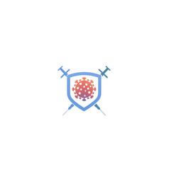 Creative covid-19 coronavirus shield syringe logo vector