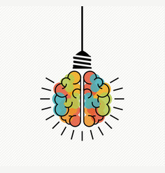 creative thinking brain light bulb for new ideas vector image