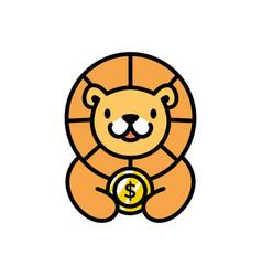 Cute lion coin dollar money cartoon playful logo vector