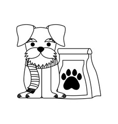 cute pet dog with food bag vector image