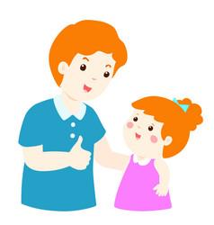 dad admire daughter character cartoon xa vector image