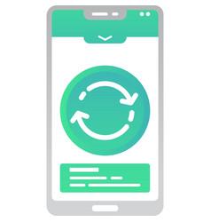 Data transfer icon info exchange on mobile vector