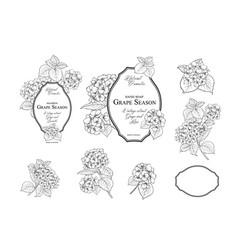 design label with blossom flower frame vector image