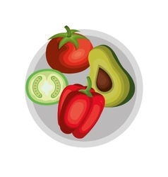 Dish with healthy food isolated icon vector