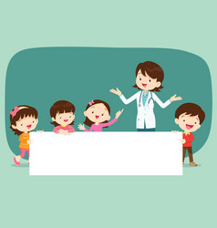Doctor and children with banner vector