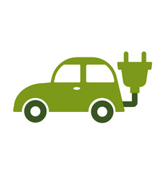 eco car isolated icon green vehicle charging vector image