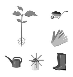farm and gardening monochrome icons in set vector image