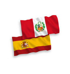 Flags peru and spain on a white background vector