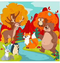 forest animals wilderness flora and fauna in vector image