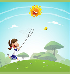 girl catching butterflies with net vector image