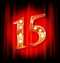 gold numbers 15 greeting card vector image
