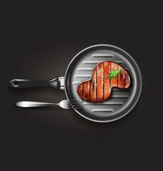Grilled beef steak vector