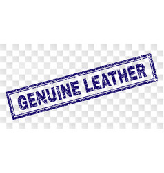 Grunge genuine leather rectangle stamp vector