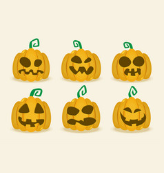 halloween pumpkin icon set flat vector image