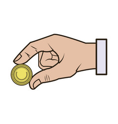Hand business put coin banking conept vector