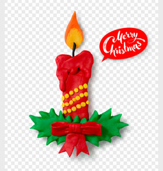 Hand made plasticine figure of christmas candle vector