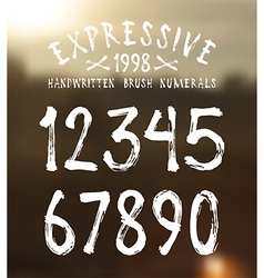 Handwritten brush numerals vector