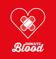 heart and plaster cross donate blood red vector image