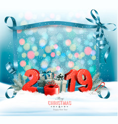 holiday christmas background with 2019 and a gift vector image