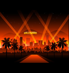Hollywood cityscape background movie red carpet vector
