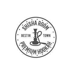 Hookah relax label badge vintage shisha room vector