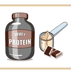 Jar with chocolate protein vector