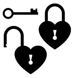 Key to heart door lock icon st valentines vector