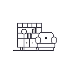 living room line icon concept living room vector image