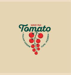 Logo tomato italian cuisine restaurant vector
